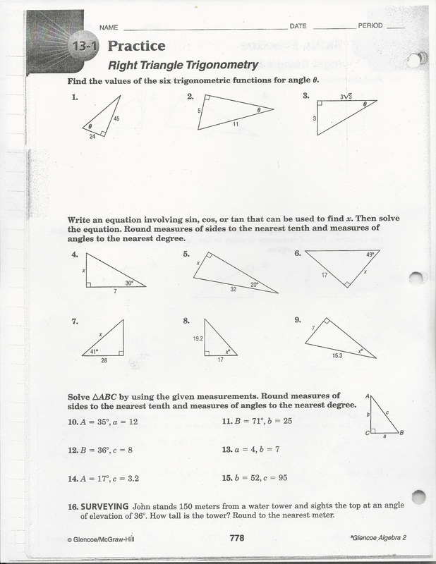 Right Triangle Trigonometry Continued - Brockton High School Mrs ...